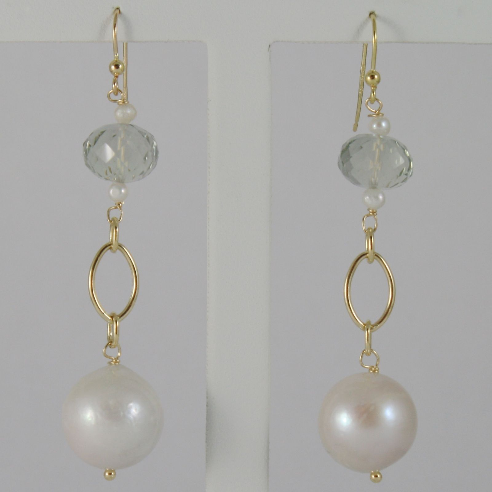 18K YELLOW GOLD PENDANT EARRINGS WITH BIG 12 MM WHITE FW PEARLS AND PRASIOLITE
