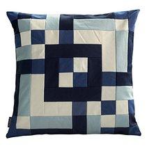 Black Temptation [Deep Ocean] Handmade Canvas Decorative Pillow Unique Grid Cush - $38.50