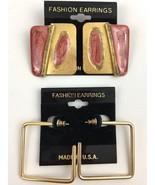 Vintage Pierced Earrings Lot Enamel Pink Gold Tone Glitter Square Hoop NOS - $10.25