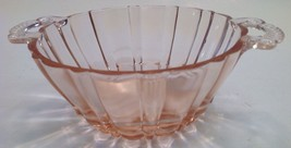 OLD CAFE PINK DEPRESSION GLASS BOWL CLEAR HANDLES - $12.82