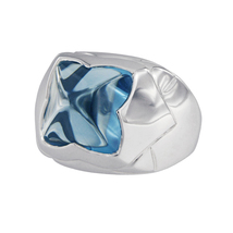 Bvlgari Piramide 18k White Gold Blue Topaz Ring - $2,100.00