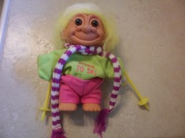 """6"""" Russ Troll Doll yellow hair Born To Ski Outfit Troll  Doll  hat,poles,goggles - $3.48"""