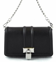 AUTHENTIC NEW NWT MICHAEL KORS $248 LEATHER PADLOCK BLACK CHAIN CROSSBOD... - $95.00