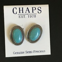 Estate Chaps Oval Turquoise Stones in Silvertone Rope Edge Frame Post Ea... - $13.09