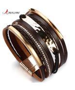 Amorcome Metal Bar Charm Leather Bracelets For Women Trendy Boho Braided... - $12.99