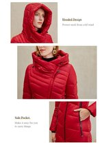 Women's  New Style Warm Solid Quilted Windproof Parka Coat image 6