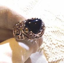 Vintage Genuine Black Onyx 925 Sterling Silver Filigree 11.5 Ring - $118.80