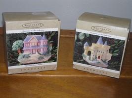 Lot of 2 Hallmark Keepsake Victorian Home EUROPEAN CASTLE Teapot Christmas Tree - $12.19