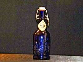 Blue Cobalt Bottle with Porcelain Swing Little John's Kansas City KS AA19-1570 V image 3