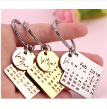 Personalized Calendar Keychain Key Chain With Date Highlighted Heart Sta... - $15.99