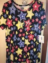 NWT LuLaRoe XL Carly Dress:Americana Black & Red White Blue Yellow Stars 4th - $54.45