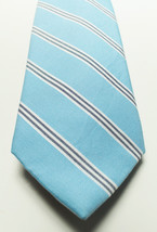 NEW MENS CLUB ROOM ESTATE NECKWEAR UMBRELLA STRIPE BLUE COTTON SILK NECK... - $8.90