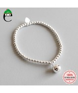 ElfoPlataSi Genuine 925 Solid Sterling Silver 3mm Beads Chain 8mm Ball E... - $30.16