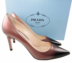 Prada Beige Black Degrade Patent Leather Classic Pointy Toe Pumps  Shoes 37 - £299.41 GBP