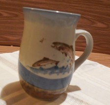 Vintage Stoneware  16  oz ~TROUT~ Mug -  Unmarked - for the Fisherman! - $9.89