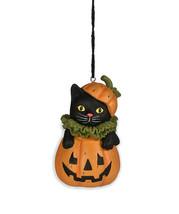 Bethany Lowe Halloween Black Cat in Jack O Lantern Pumpkin Resin Ornamen... - $15.95