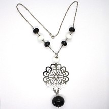 SILVER 925 NECKLACE, ONYX BLACK, AGATE WHITE, FLOWER MILLED PENDANT image 2