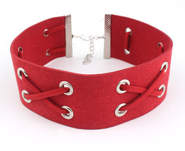 RED FAUX LEATHER BIB CHOKER NECKLACE RIBBON KNOTTED LEATHER EVERYDAY COLLAR - $22.49