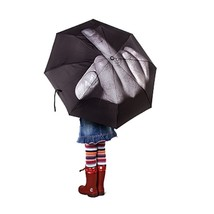 Cool Middle Finger Up Three Folding Umbrella Anti Sun Rain Windproof Par... - $15.80