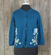 Ann Taylor Loft Cardigan Sweater M size Blue Embroidered Floral Cotton Womens  - $24.75