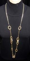 New Alfani Goldtone Necklace 2 Strand Chain With Goldtone Ovals & Rhines... - $17.81