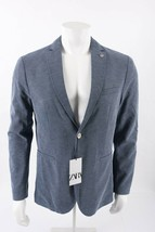 Zara Mens Structured Blazer Suit Coat Jacket Blue US sz 42 EU 52 6861/41... - $88.11