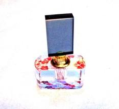 Art Glass Perfume Bottle Flowers Mirrored Bottom  - $29.70