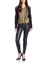 Karen Kane Fast Lane Moto Jacket Women's sz Medium Fancy Foil Gold/Black... - $55.97