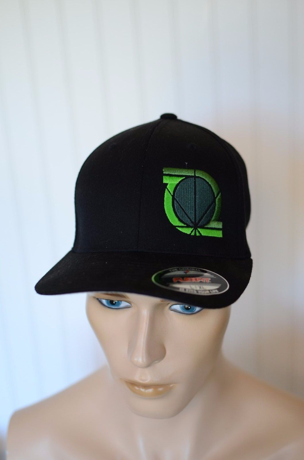eb6bc88cdaf Port Authority Black w  Green Logo Fitted L XL Trucker Baseball Hat Cap -   13.85