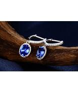 2Ct Unique Solitaire Tanzanite & Sim Diamond Earrings Stud 14K White Gol... - $85.99