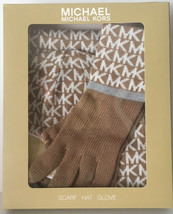 NWT Michael Kors SCARF HAT GLOVE Knitted Gift Set in a Box Camel & White... - $32.00