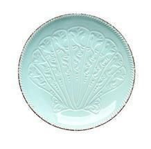 Gentle Meow Home Restaurant Creative Ceramic Round Plates, Light Blue Se... - $28.03