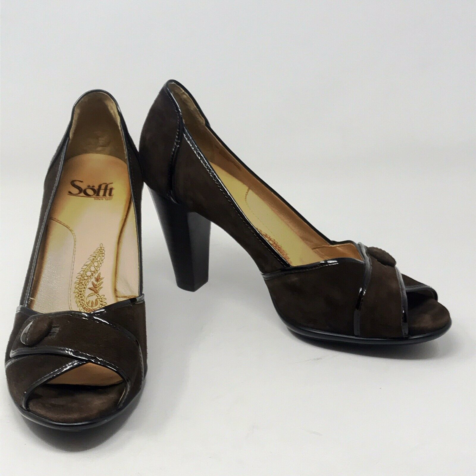 Sofft Peep-Toe Brown Suede Pumps with Patent Leather Accents Womens Sz 8 W - $24.90