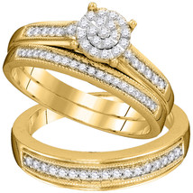 10kt Yellow Gold His Hers Diamond Cluster Matching Bridal Wedding Ring Set - $677.07