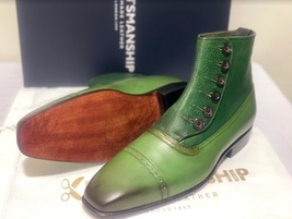Handmade Men's Green Leather High Ankle Buttons Boot image 2