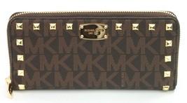 Michael Kors monedero marrón Mk estampado con tachuelas JET SET - $172.20