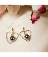 Heart pearl dangle earrings - $20.00
