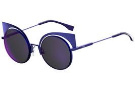 FENDI EYESHINE FF0177S Lilac Blue Mirrored Metal Sunglasses Round Runway... - $185.77