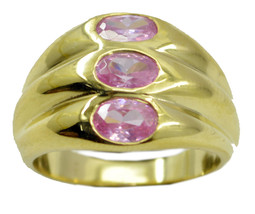 charming Pink CZ Gold Plated Pink Ring supply US 6,7,8,9 - $7.91