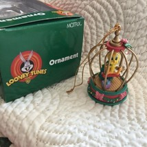 Tweety Bird In Cage Christmas Ornament Looney Tunes 1998 Matrix Christma... - $14.84