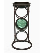 "Partylite LA ROSETTA Bronze Metal Glass Medallion 13.5"" Pillar Candle Holder NIB - $28.99"