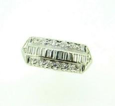 Vintage 14k White Gold Wide Genuine Natural Diamond Ring Band (#J5126) - $450.00