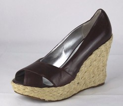 Jessica Simpson Galix espandrille wedge heel peep toe leather brown size... - $20.20