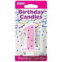 1' Numeral Pink Dots Candles - $0.70+