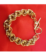 muti links chain bracelet gold 10mm metal toggle womens mens unisex jewe... - $6.99