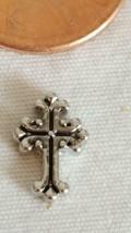 Nnt Tiny Authentic Origami Owl Silvertone Fancy Cross Floating Charm, Christian - $4.94