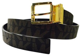 BRAND NEW MK 553751C SIGNATURE REVERSIBLE XL BROWN/GOLD LEATHER BELT - £23.02 GBP