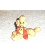 Porcelain Poodle with fabric pink scarf Made in England - $2.84