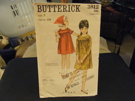 Butterick 3812 Girl's Dress w/Embroidery & Scarf Pattern - Size 7 Chest 25 - $13.63