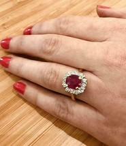 2.43 Ct Oval Shape Red Ruby & Diamond Cluster Engagement Ring 14k Gold Over - $69.48